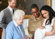 queen elizabeth, prince harry, meghan markle, and doria ragland with baby archie