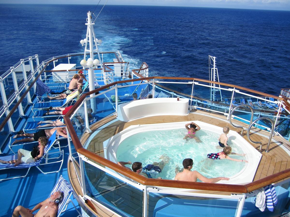 people in pool on cruise ship