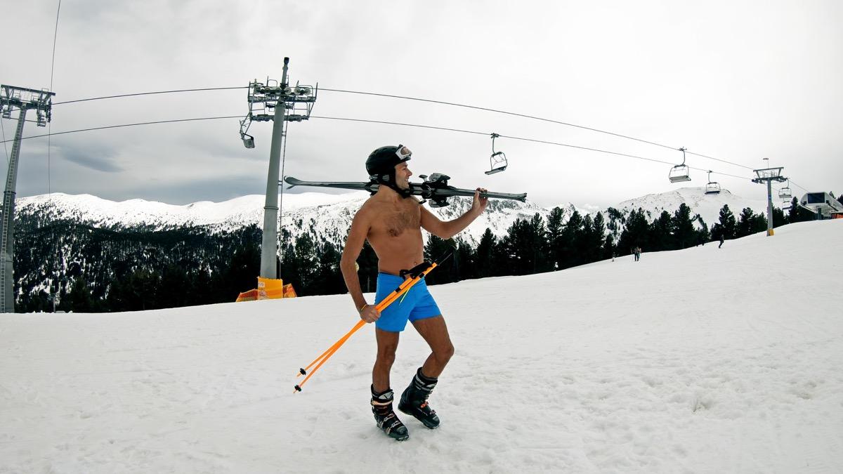 Man in shorts skiing