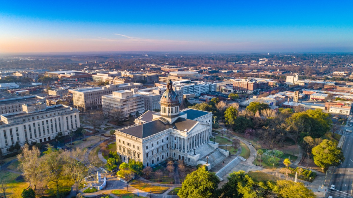 aerial view of downtown columbia south carolina