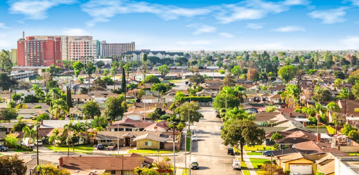 panoramic view of anaheim in orange county california