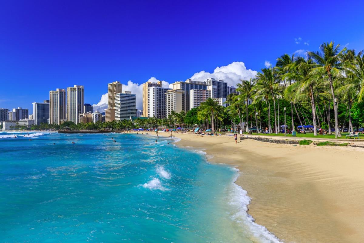 waikiki beach honolulu hawaii skyline