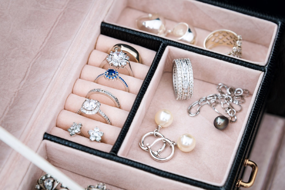 close up of jewelry box with rings