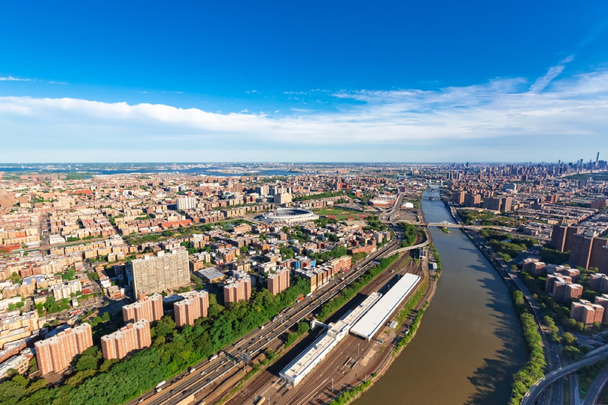aerial view of the bronx in new york