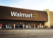 A Walmart storefront with brown paint