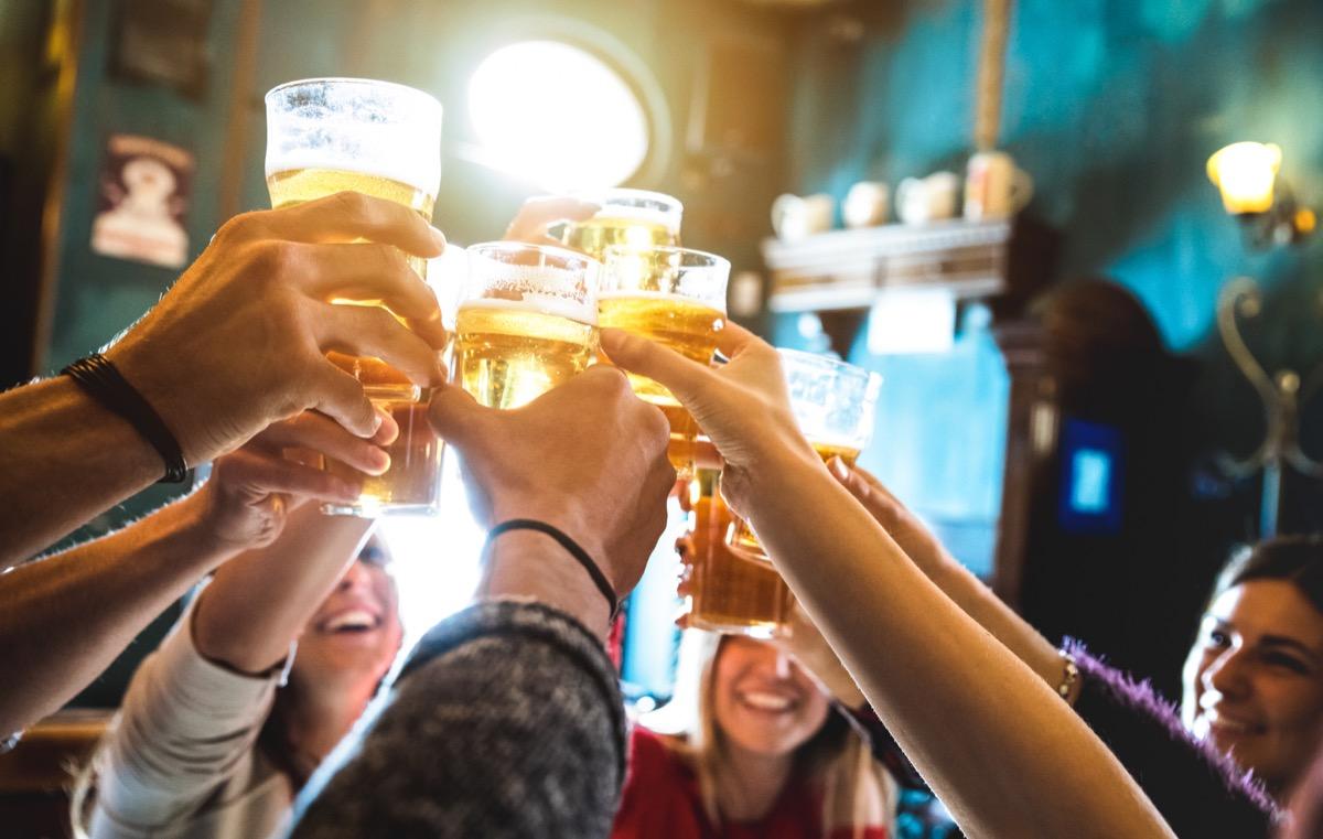 People toasting in. bar