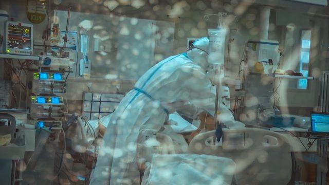 Coronavirus hospital patient being treated