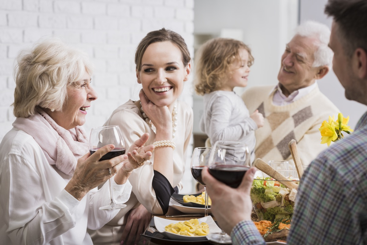 Intergenerational family dinner