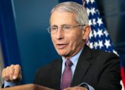 Dr. Anthony S. Fauci, Director of the National Institute of Allergy and Infectious Diseases, speaking during a coronavirus (COVID-19) briefing Wednesday, April 22, 2020, at the White House.