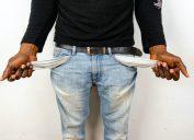 Black man with empty pockets
