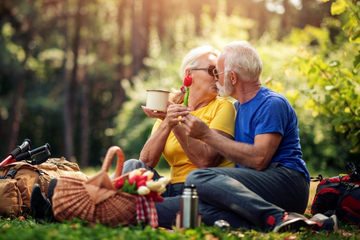 Senior couple kissing on picnic