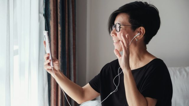 Asian woman on FaceTime call
