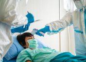 middle aged woman hospitalized with coronavirus