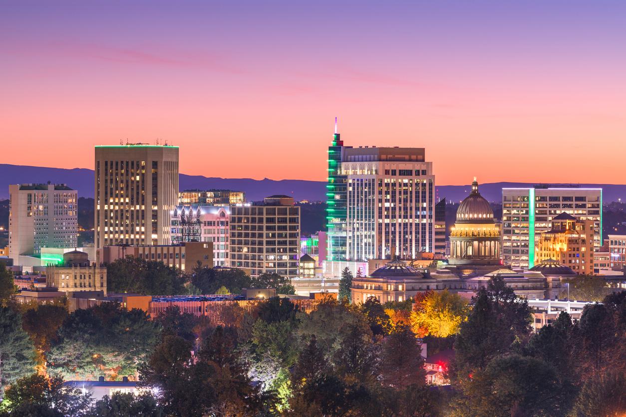 The skyline of downtown Boise, Idaho at twilight