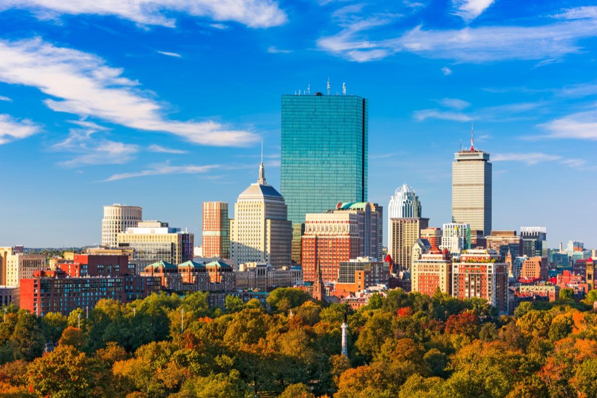 boston skyline and boston commons