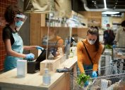 precaution safety for the coronavirus with masks, plexiglass, gloves, and more