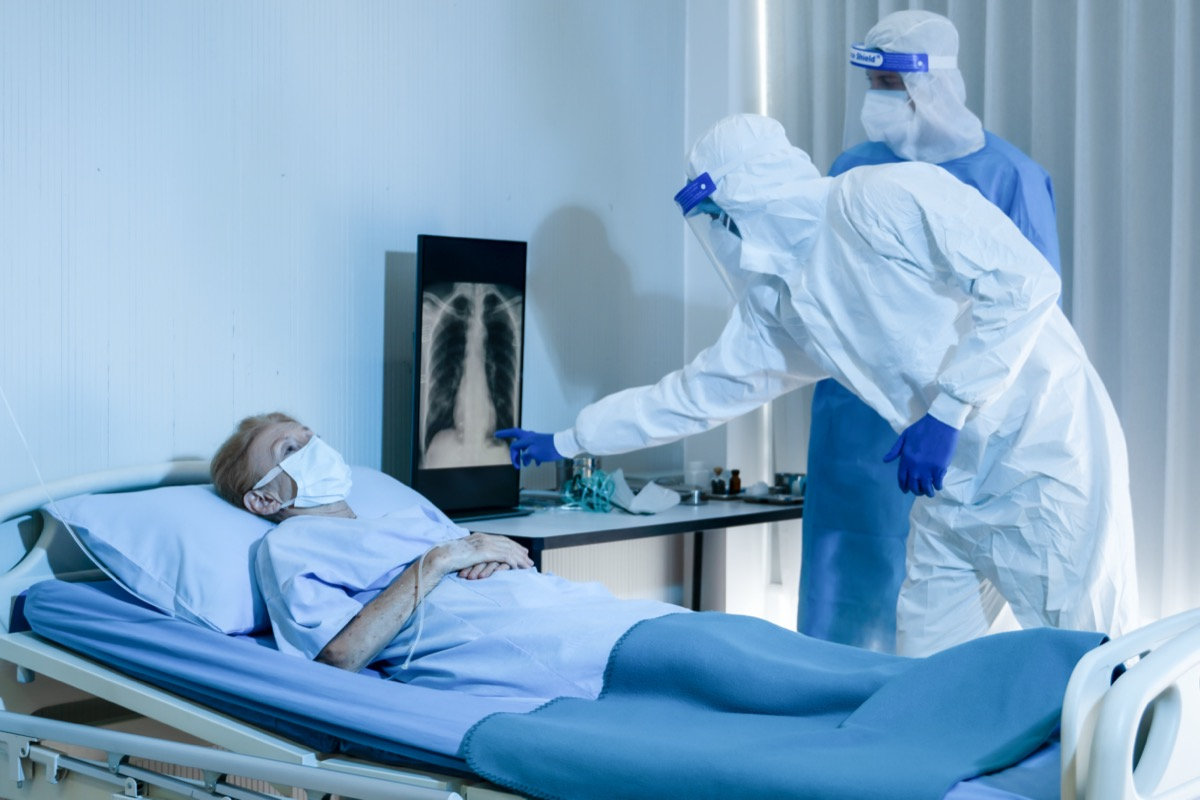older white woman in hospital with lung blood clots in x-ray