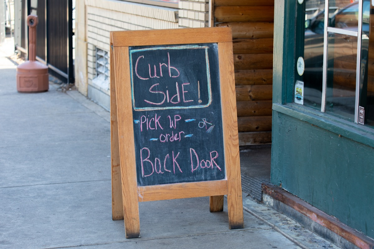 chalkboard with curbside pickup option