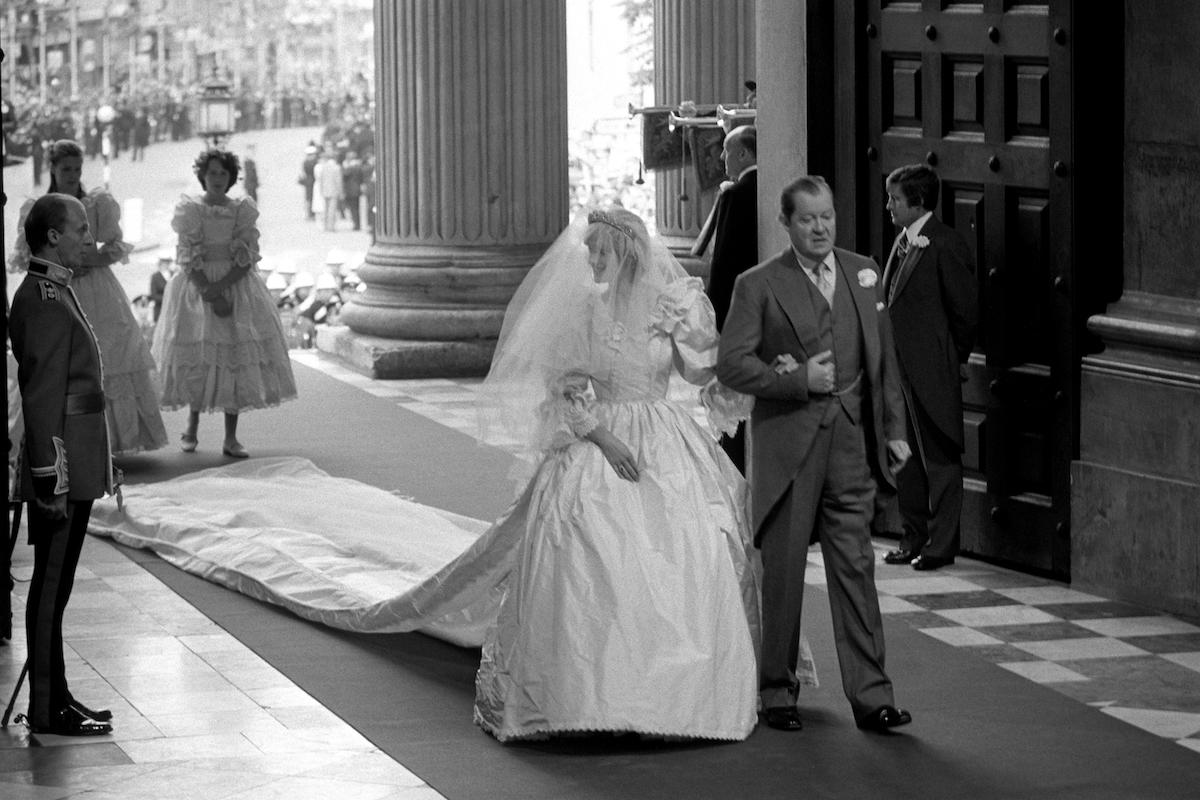 Lady Diana Spencer and father John Earl Spencer on wedding day