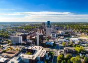 An aerial view of downtown Lexington, Kentucky on a clear day