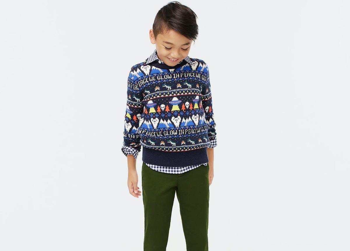 young boy in fair isle sweater