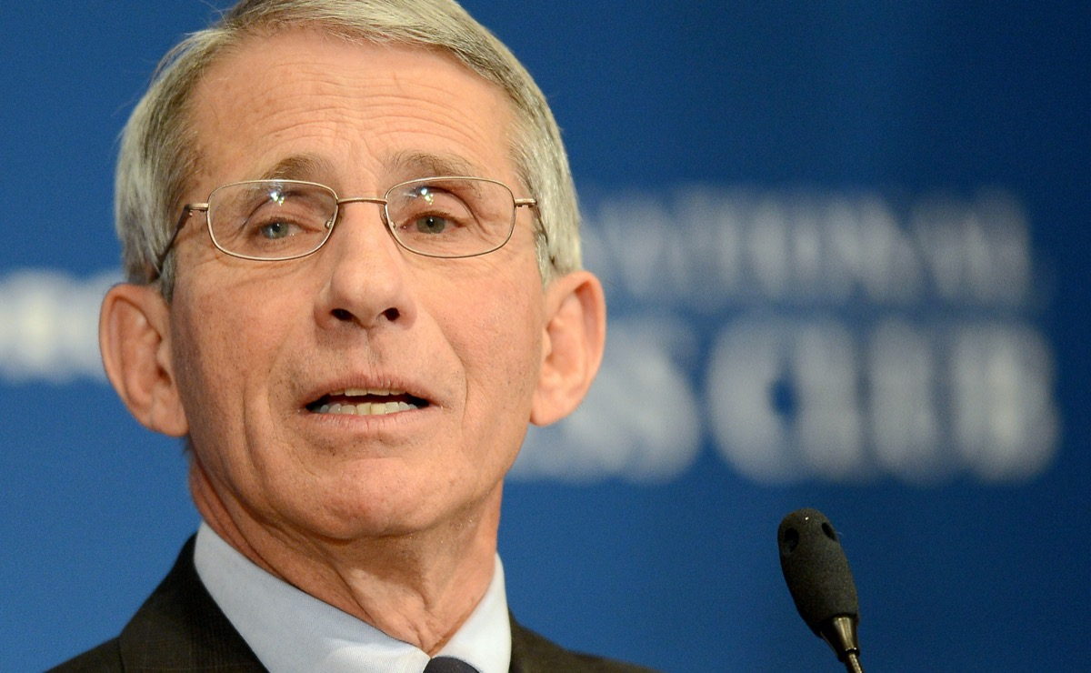 Dr. Anthony Fauci, director of the National Institute of Allergy and Infectious Diseases, speaks at the National Press Club in Washington.
