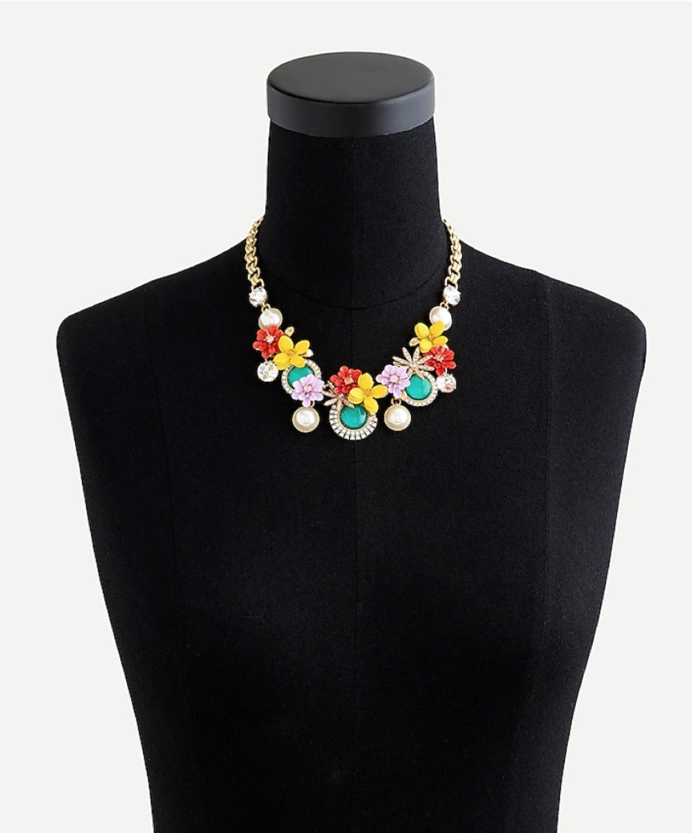 floral resin necklace on gold chain