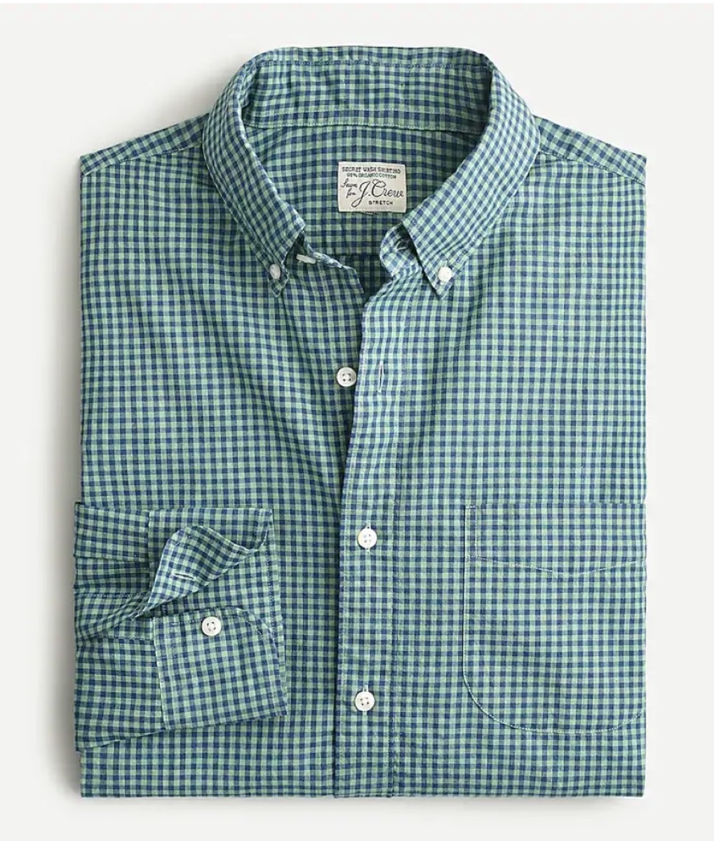 green and white gingham button down shirt