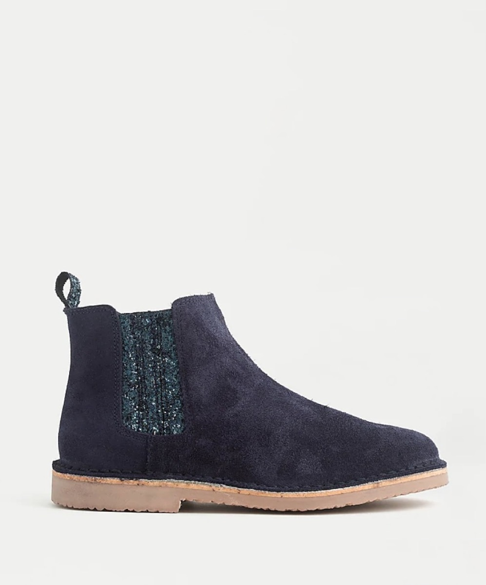 blue children's chelsea boots with glitter accent