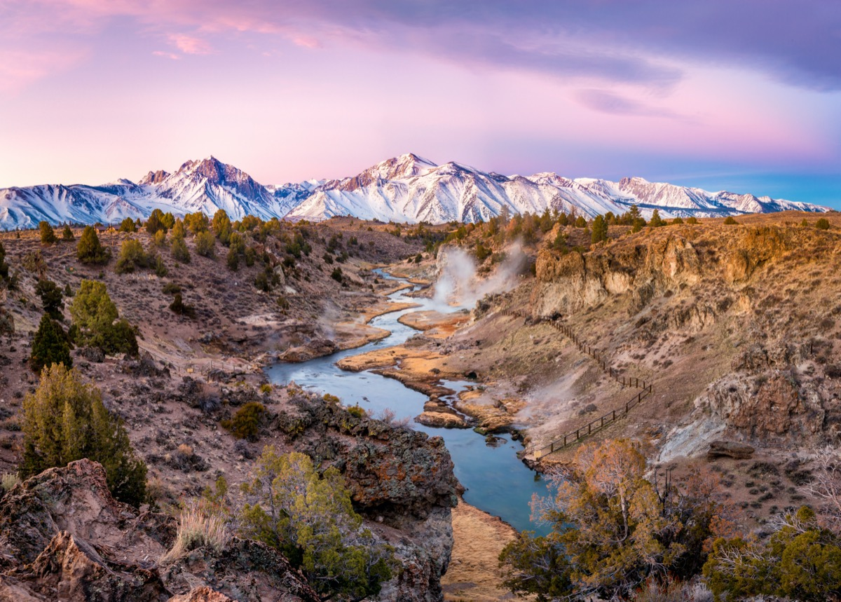 Sunrise at Hot Creek Geological Site in Mono County, California