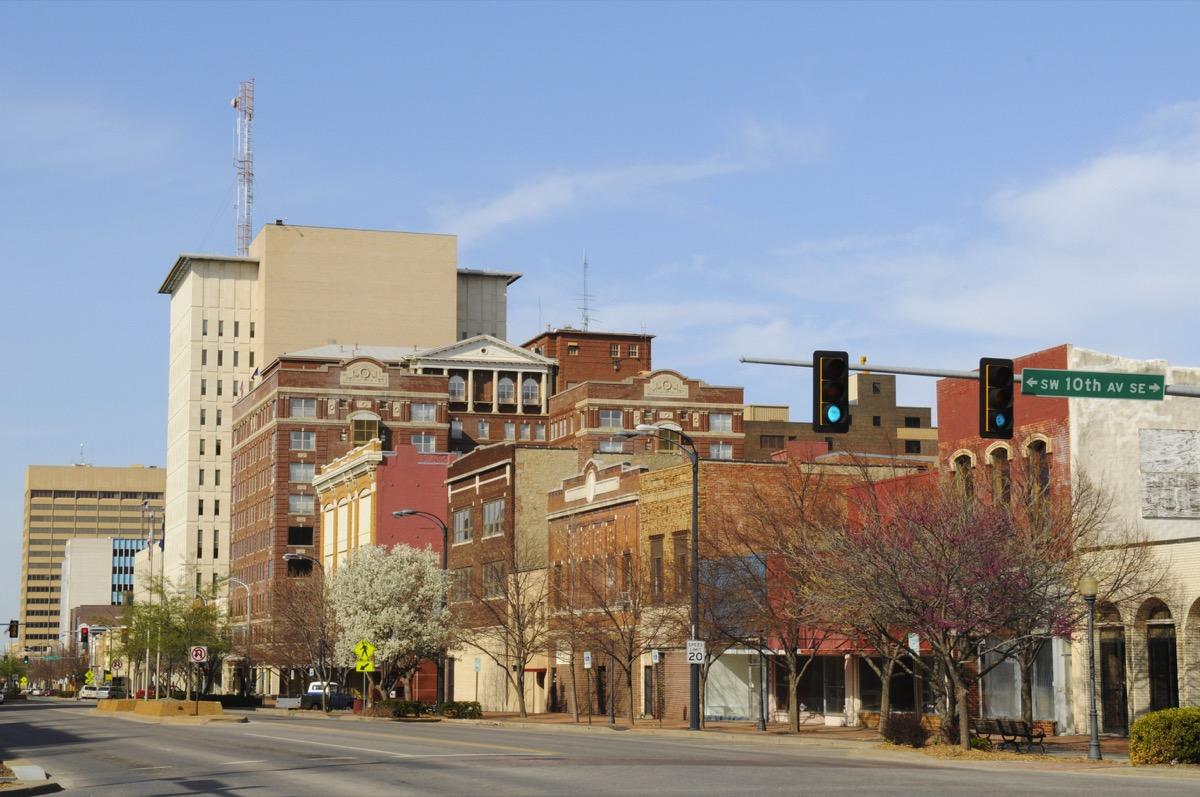 springtime view in downtown Topeka, Kansas, USA