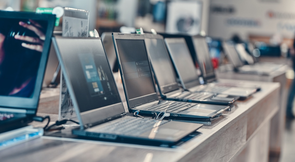 store display of laptop computers