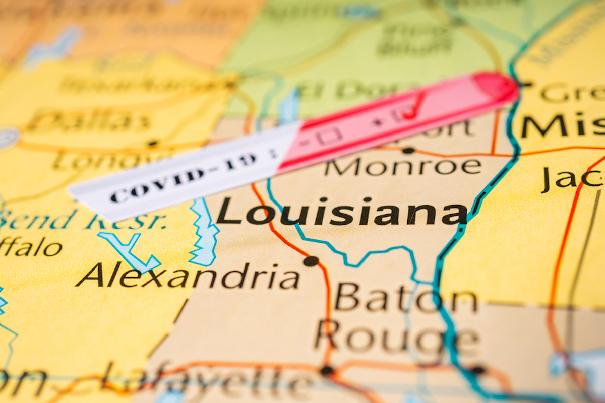 louisiana map shows state is infected with coronavirus