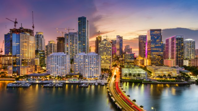 The skyline of Miami at sunset