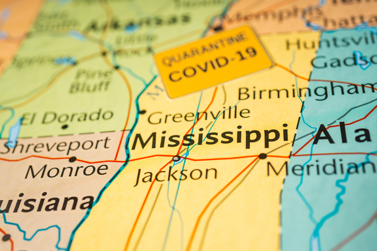 map of mississippi showing covid infection