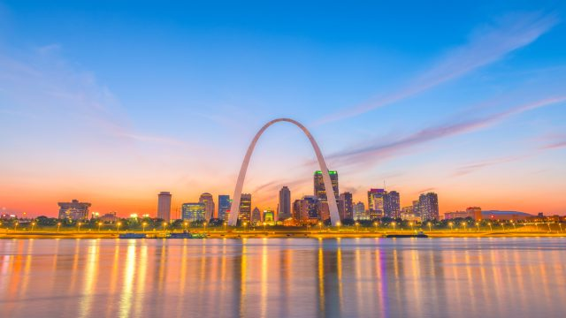 The skyline of St. Louis, Missouri with the Arch in view.