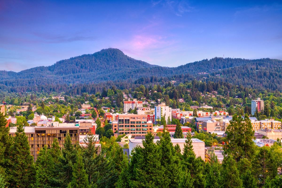 Eugene, Oregon, USA downtown cityscape at dusk.
