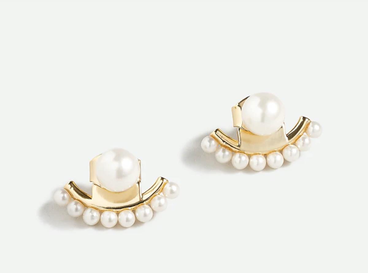 pearl and gold ear jacket earrings
