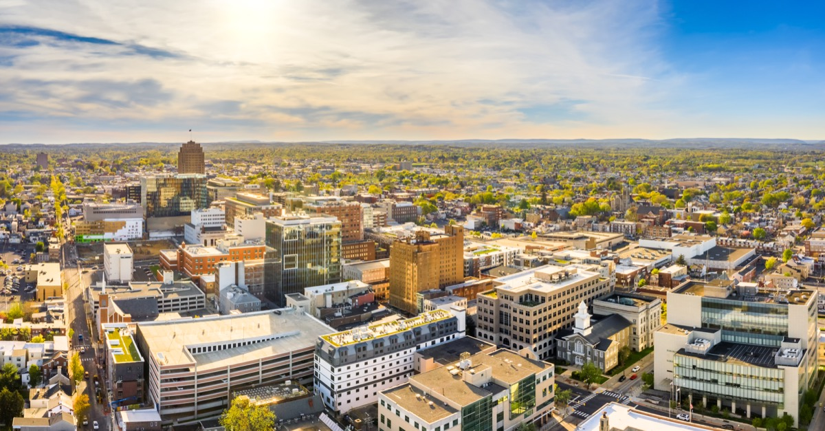Aerial panorama of Allentown, Pennsylvania skyline on late sunny afternoon. Allentown is Pennsylvania's third most populous city.
