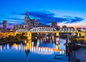 A view of downtown Nashville, Tennessee at the Shelby Street Bridge.