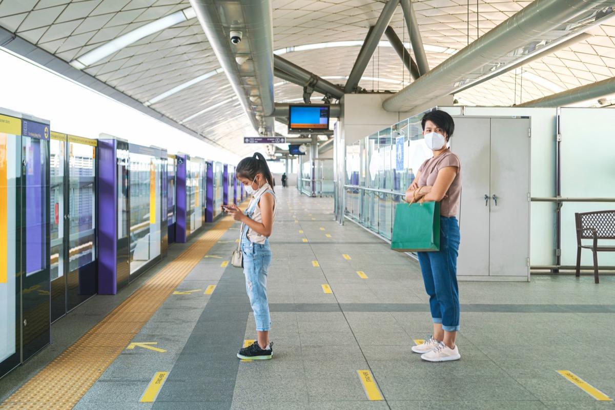 People social distancing on platform