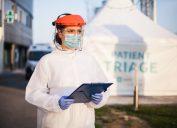 Woman at coronavirus test center