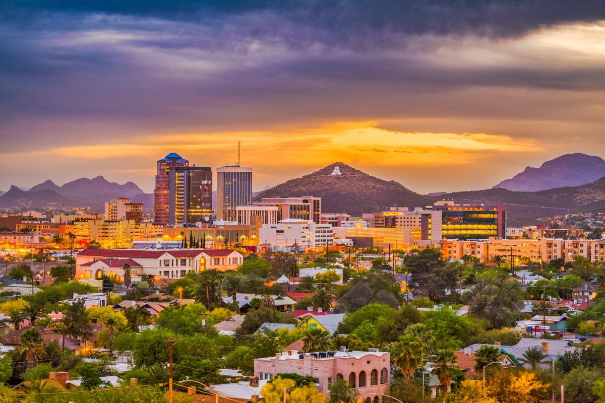 "Tucson, Arizona, USA downtown skyline with Sentinel Peak at dusk. (Mountaintop ""A"" for ""Arizona"")"