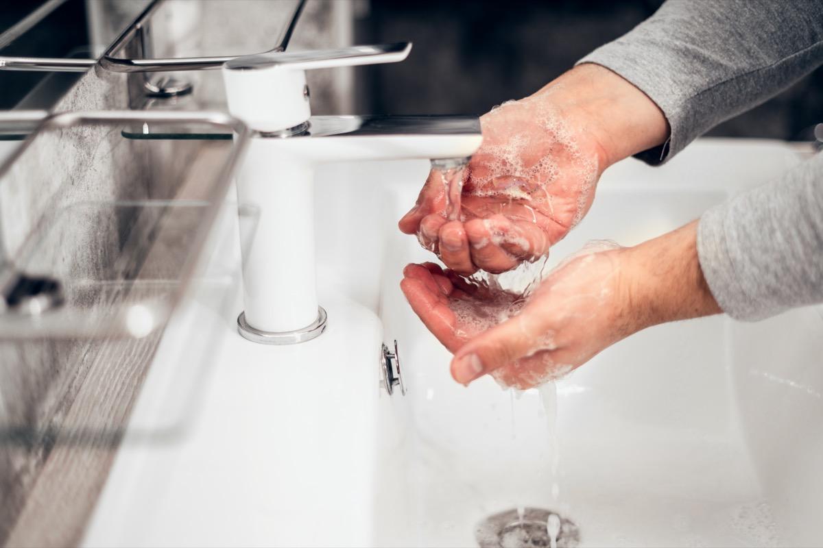 hand washing in a sink
