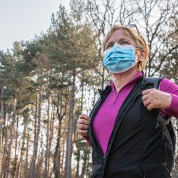 Senior woman Exercising in Nature Alone Due to Covid 19, Slovenia, Europe,Nikon D850