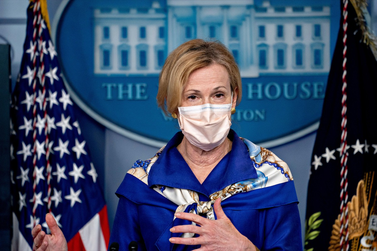 dr. deborah birx wearing a face mask at a white house briefing