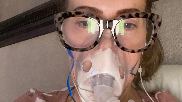 Alyssa milano with breathing machine due to COVID