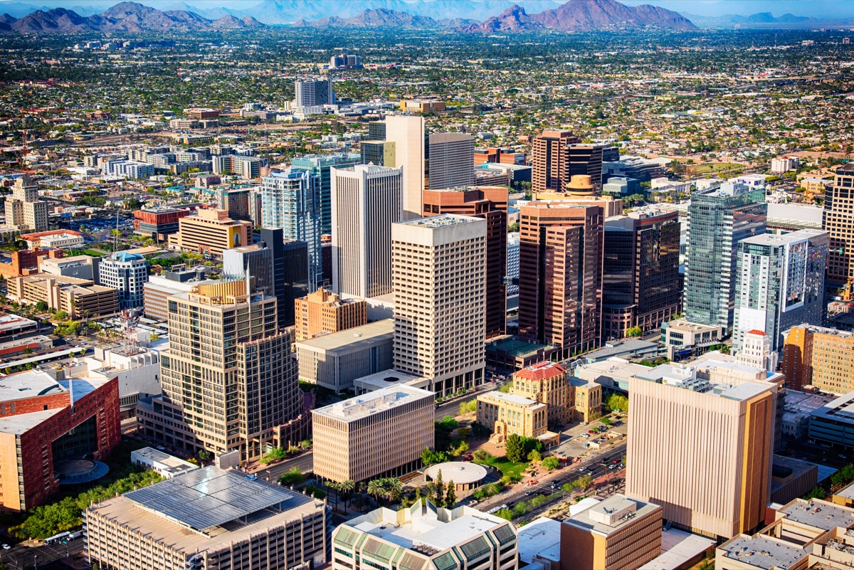 An aerial view of downtown Phoenix, Arizona and the surrounding urban area.