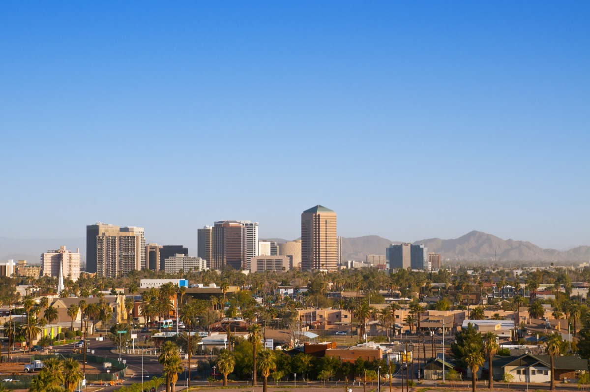 """""""Downtown Scottsdale and suburbs of Phoenix, Arizona, with the White Tank Mountain Range in the background in eerly morning lightMore images from Phoenix:"""""""