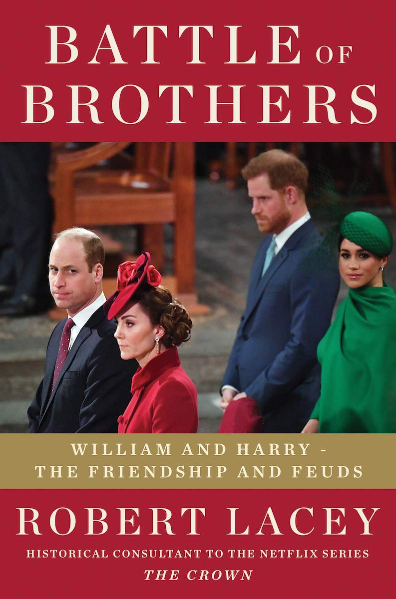 battle of the brothers book cover featuring william, kate, harry, and meghan